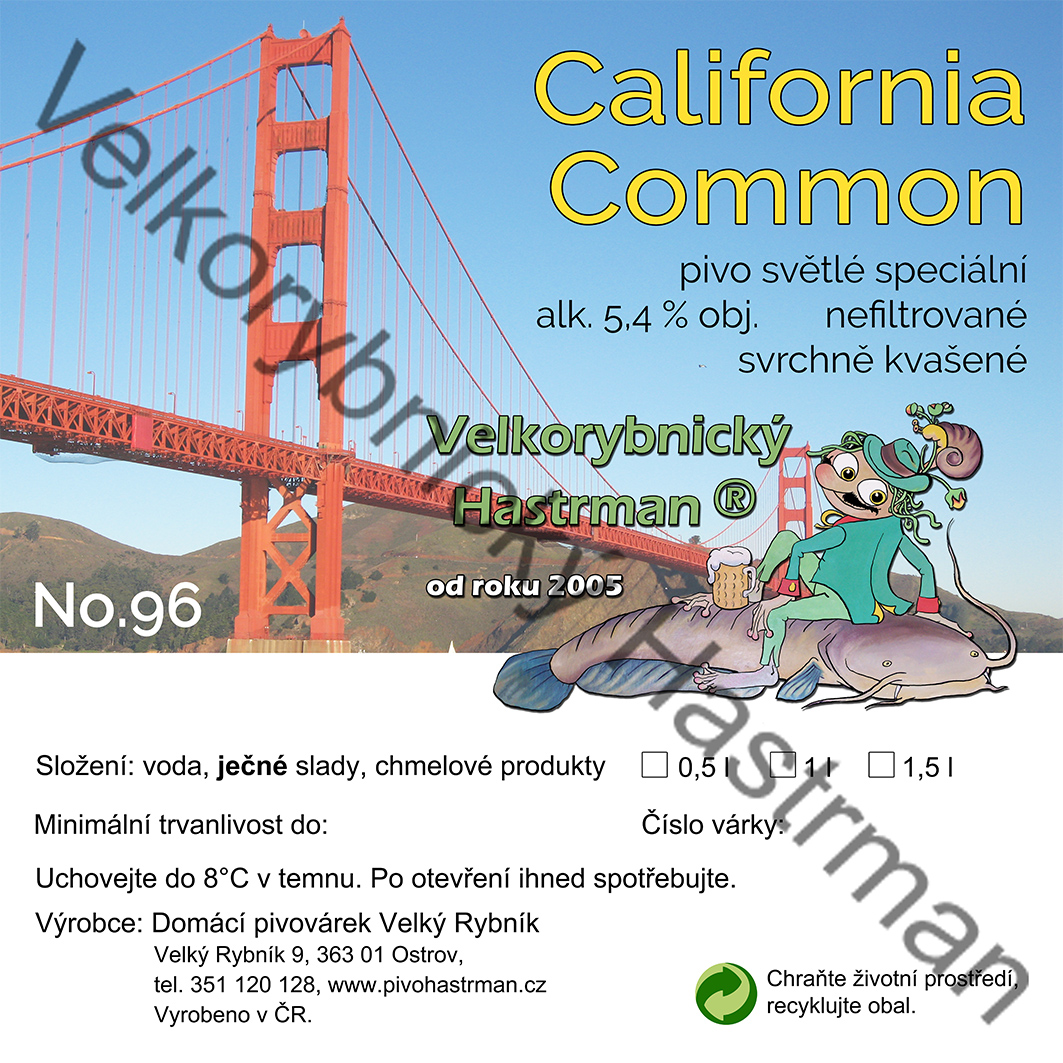 Etiketa California Common No. 96 (2018) © Velkorybnický Hastrman