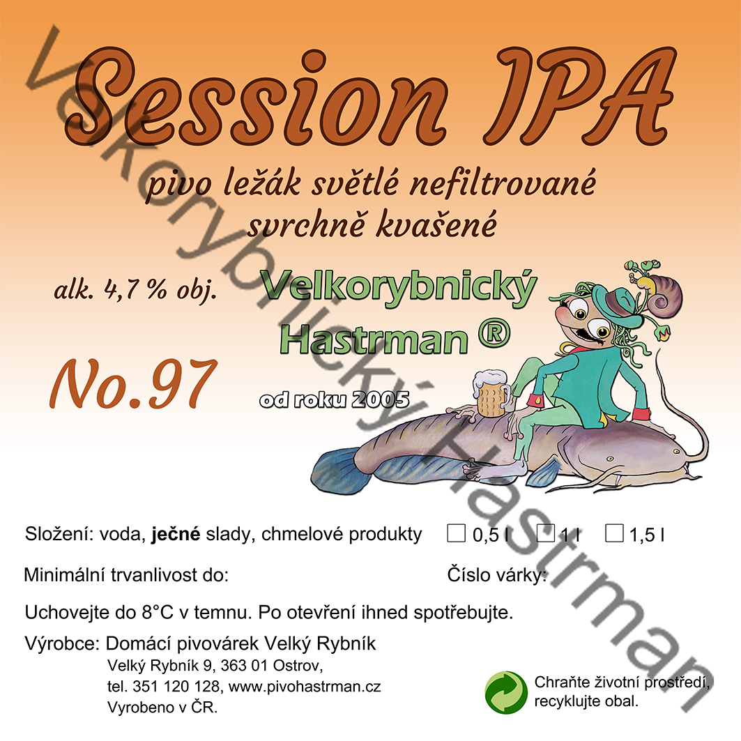 Etiketa Session IPA No. 97 (2018) © Velkorybnický Hastrman