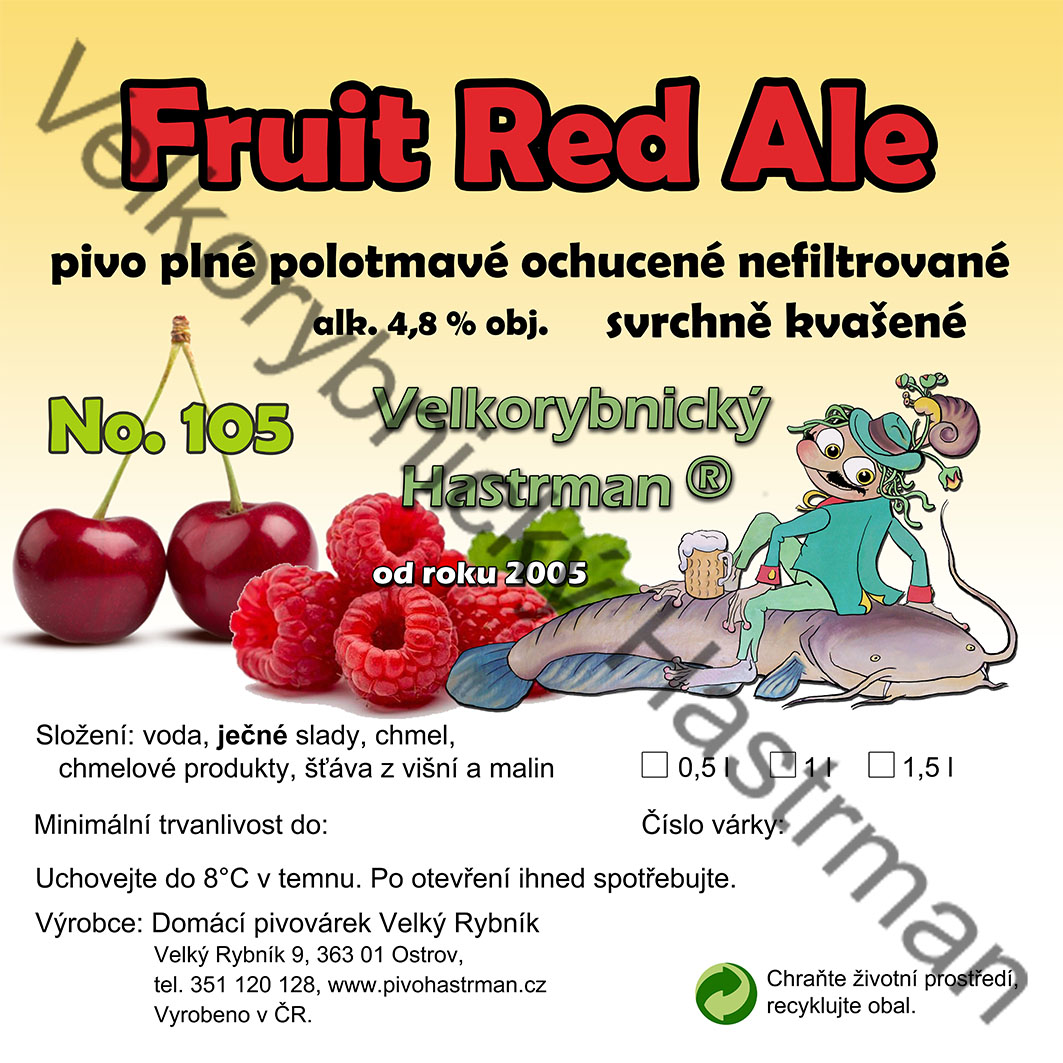 Etiketa Fruit Red Ale No. 105 (2020) © Velkorybnický Hastrman